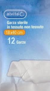 """Immagine di """"GARZA STERILE ALVITA IN TESSUTO NON TESSUTO 18X40CM 12 PEZZI"""""""